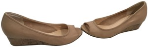 Cole Haan Tan Make an offer Beige leather padded leather insoles cork base NikeAir soles peep toe Wedges