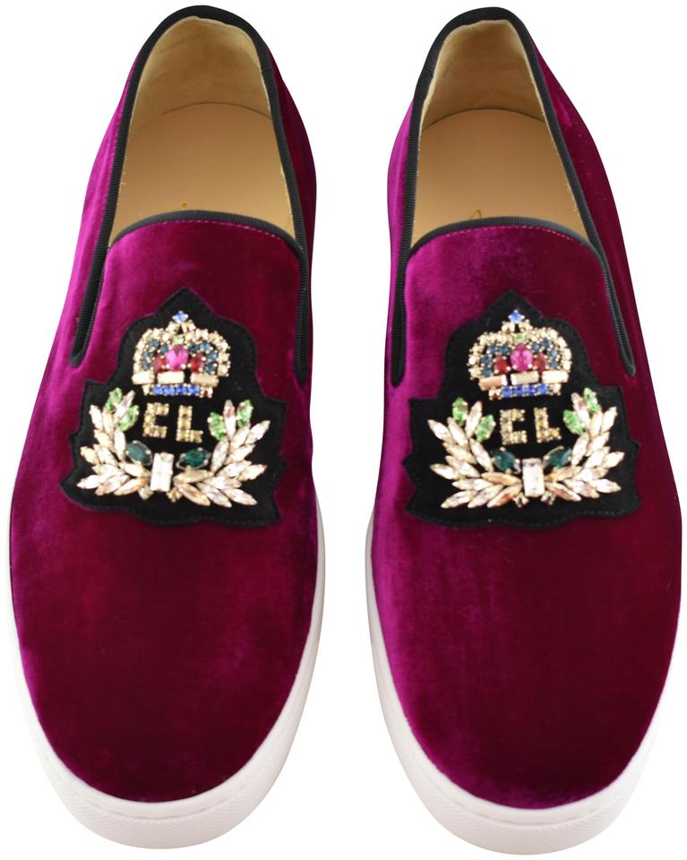 competitive price 86e7e 682cc Christian Louboutin Burgundy Logo Boat Figue Red Velvet Crystal Cl Slip On  Low Top Sneaker Flats Size EU 39 (Approx. US 9) Regular (M, B) 49% off ...