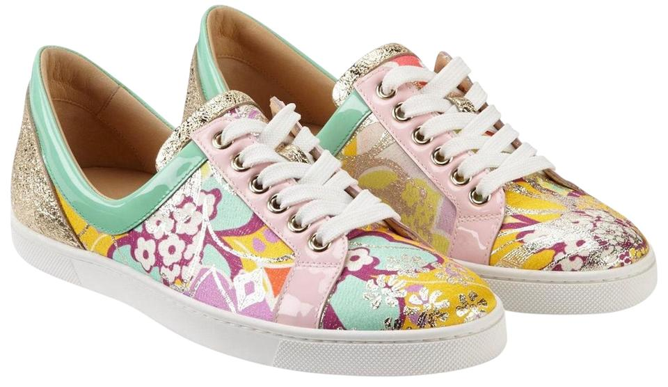 1262dc2100a Christian Louboutin Multicolor Flamingirl Flat Tissu Kyoto Opal Patent Lace  Up Low Top Sneakers Size EU 37 (Approx. US 7) Regular (M, B)