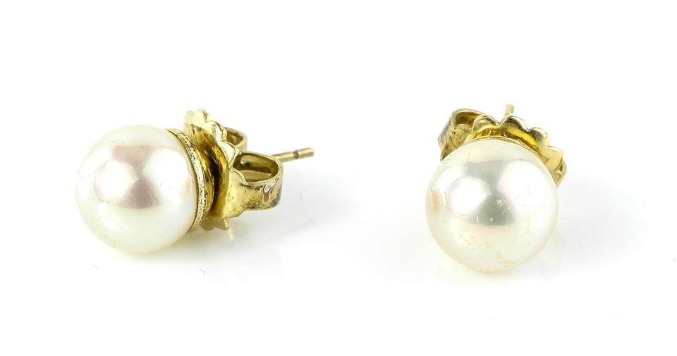 Majorica Synthetic White Round Pearl Studs Earrings