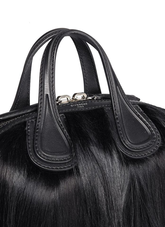 360de95c3d0e6 Givenchy Nightingale Satchel Black Leather Fur Hobo Bag - Tradesy