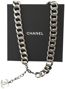 "Chanel Rare Thick Matte Silver Chain Link CC Belt 32"" - 35"""