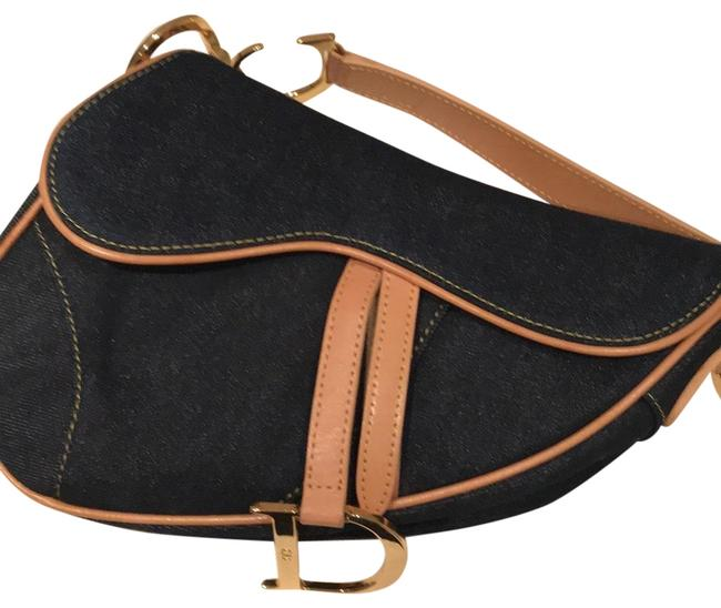 Item - Christian Delicate Dark Denim with Pale Pink Leather Accent and Gold Hardware Shoulder Bag