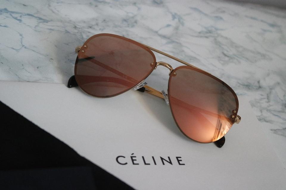 4f3752f46c Céline Rose Gold Sale New Cl 41392s S Small Pilot Mirrored Aviator  Sunglasses - Tradesy