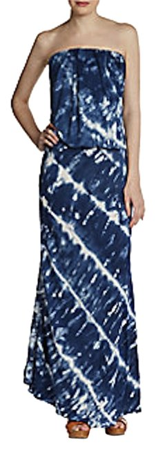 blue multi Maxi Dress by Young Fabulous & Broke Maxi Tie Dye Summer Evening Strapless