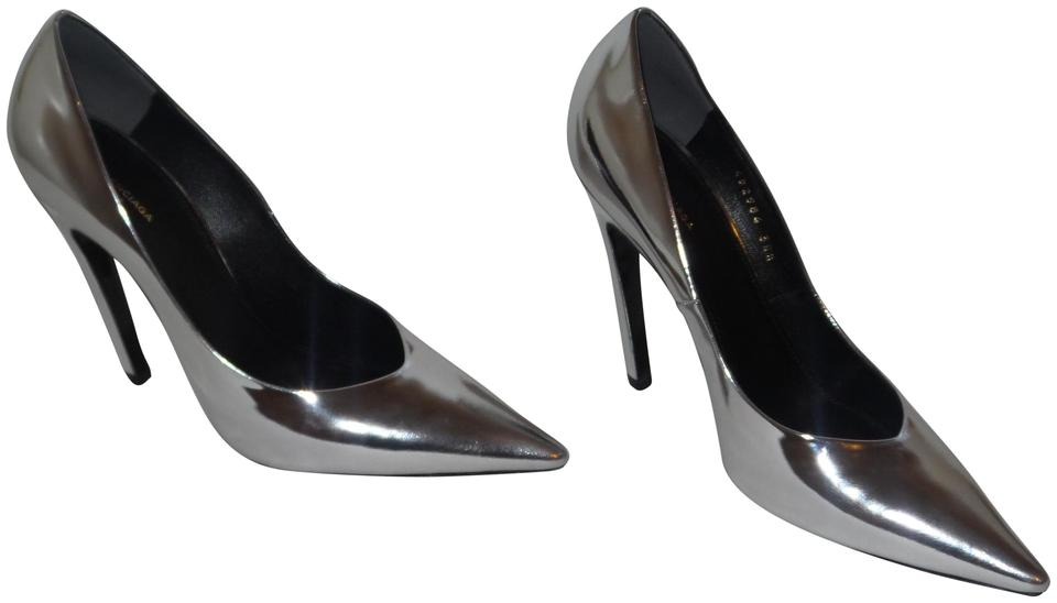 597dd1ecee9 Balenciaga Silver Slash Heel Mirror Effect Leather Pumps. Size  EU 38.5 ( Approx.