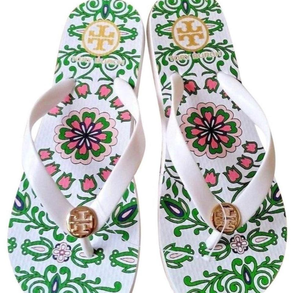 77ef717ce Tory Burch White Floral Garden Party New Summer Flip Flats Sandals ...