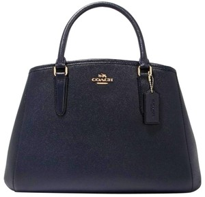 Coach Convertible Shoulder Strap Adjustable Blue Leather Suede Satchel in Midnight