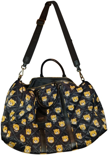 Item - Duffle Aw 15 Couture Jeremy Scott Ready To Bear Black Multi Leather and Satin Weekend/Travel Bag