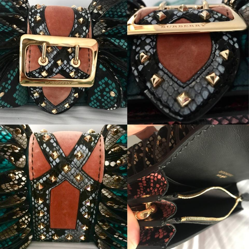 9b6d1a4ba67 Burberry Shoulder Bag Bridle Baby Ruffled Multi Green Snake Skin Cow ...