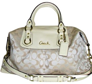 Coach Ashley Hang Tag Attached Satchel in Brass/Cream/Beige