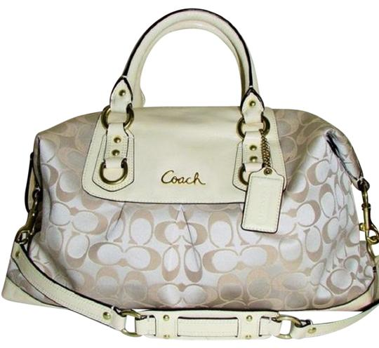 Preload https://img-static.tradesy.com/item/23621189/coach-ashley-signature-brasscreambeige-sateen-and-patent-leather-satchel-0-1-540-540.jpg