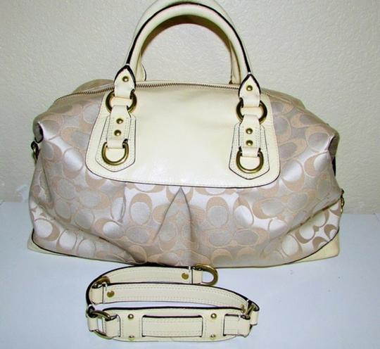 Coach Ashley Hang Tag Attached Satchel in Brass/Cream/Beige Image 1