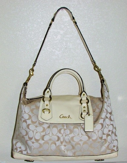 Coach Ashley Hang Tag Attached Satchel in Brass/Cream/Beige Image 2