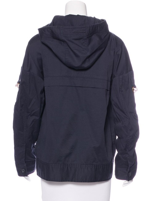 Marc by Marc Jacobs Hooded Asymmetrical Zip Twill Convertible Navy Jacket Image 2