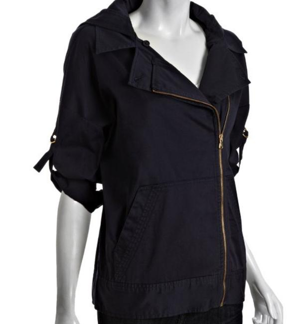 Marc by Marc Jacobs Hooded Asymmetrical Zip Twill Convertible Navy Jacket Image 3