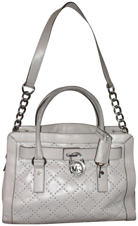 20a92e07913322 Michael Kors Check It Out Hamilton Hand with Stones(I Gray Leather Shoulder  Bag