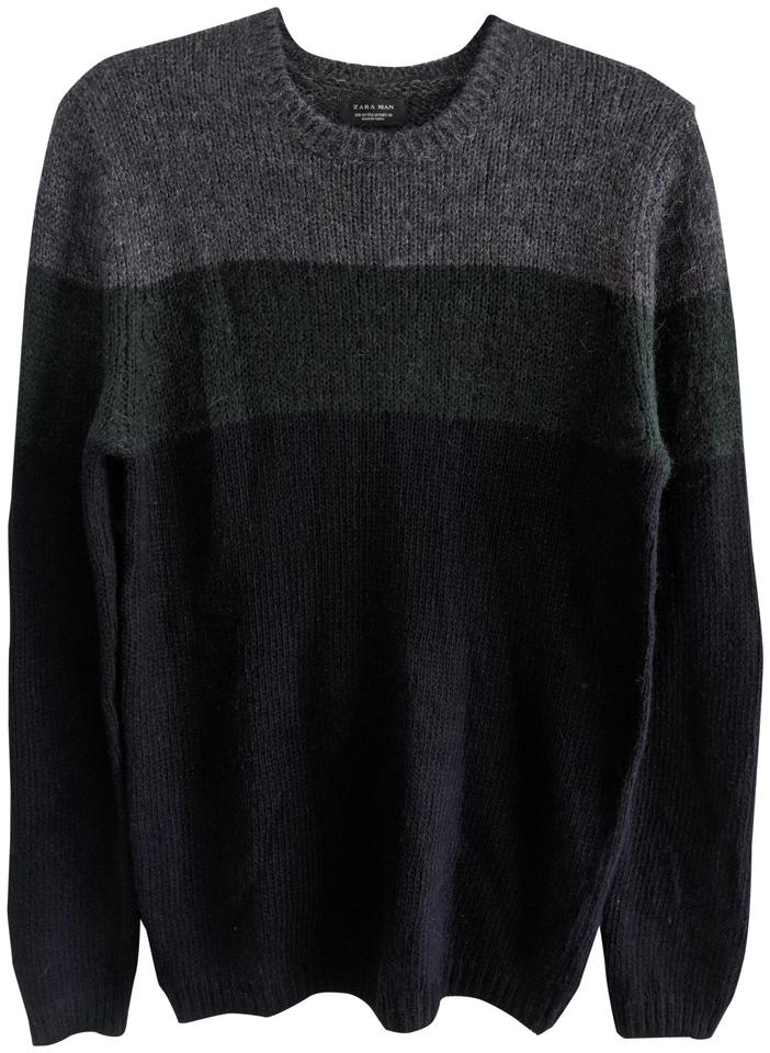 9c07efba Zara Man Knit Black Grey Green Sweater - Tradesy