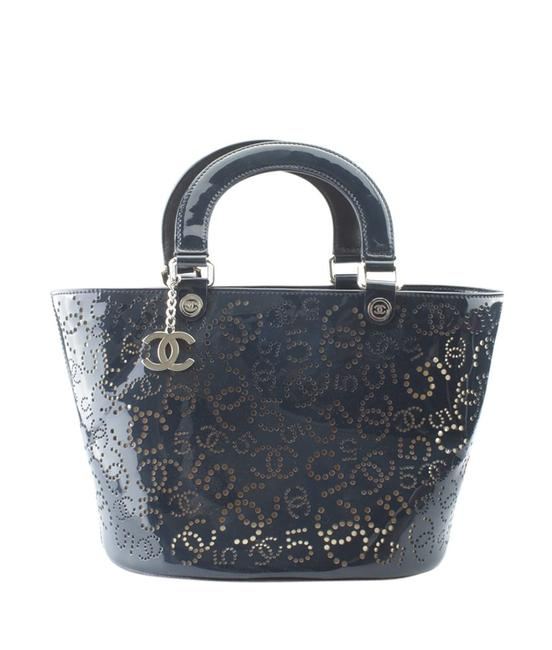 Item - A31335 Perforate (152518) Blue Patent Leather Tote