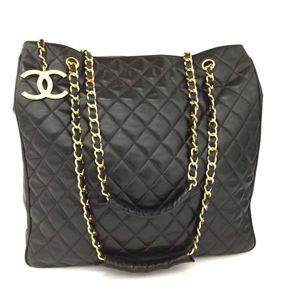 28e0e3761324 Chanel Quilted Matelasse Cc Logo Chain Large Shoulder Black Lambskin ...