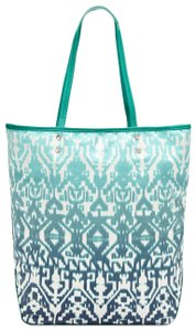 """Isabella Fiore Style # 131581h Strap Drop: 9.5"""" Silver Studs Logo Detail Cotton Lined Tote in Blue Multi"""