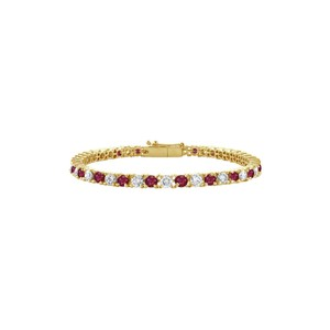 DesignerByVeronica Designer Created Ruby and CZ Tennis Bracelet 1CT 14K Yellow Gold
