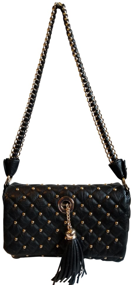564781e299 bebe Studded Canvas Black Polyurethane Shoulder Bag - Tradesy