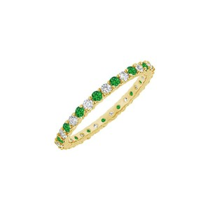 DesignerByVeronica May Birthstone Emerald and CZ Bangle in Yellow Vermeil 6 CT TGW