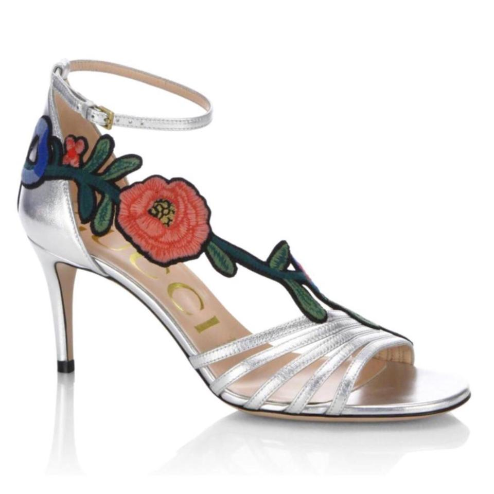 "1b5d0f3cd398 Gucci Silver Ophelia Floral Embroidered 75mm 3"" Metallic Leather Heels  Sandals"