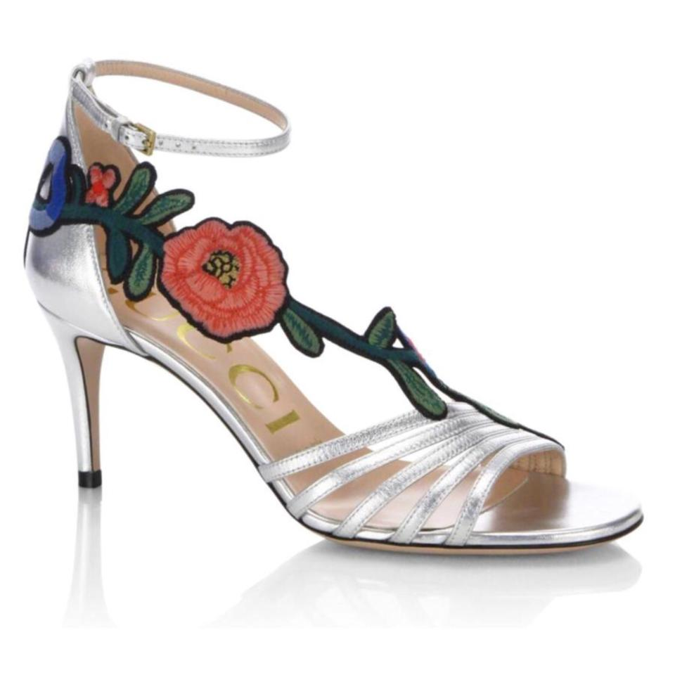 44322dda2 Gucci Silver Ophelia Floral Embroidered 75mm Sandals Metallic Leather Heels  Pumps