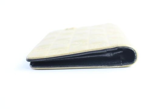 Chanel Gold Embossed Chocolate Bar Quilted Long Wallet 226339r Image 11
