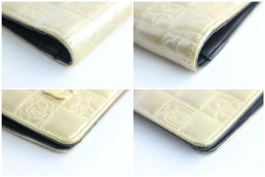Chanel Gold Embossed Chocolate Bar Quilted Long Wallet 226339r Image 6