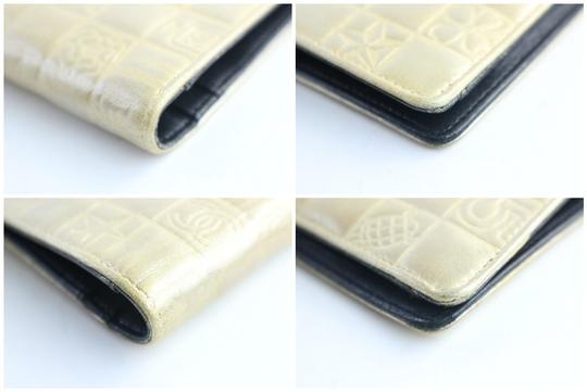 Chanel Gold Embossed Chocolate Bar Quilted Long Wallet 226339r Image 8