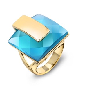 ME-Boutiques Private Label Collection Swarovski Crystals Faceted Teal Blue Statement Ring S21