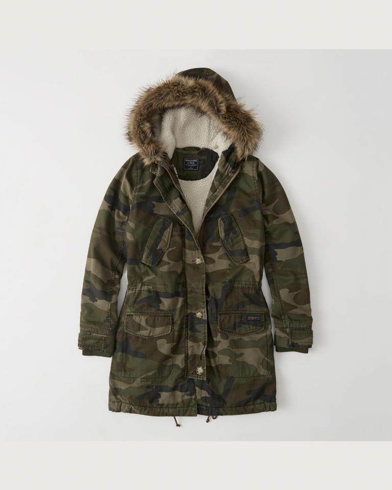 a4699225bcdf3 Abercrombie & Fitch Olive Camo XS Sherpa-lined-twill-parka-size-xs ...