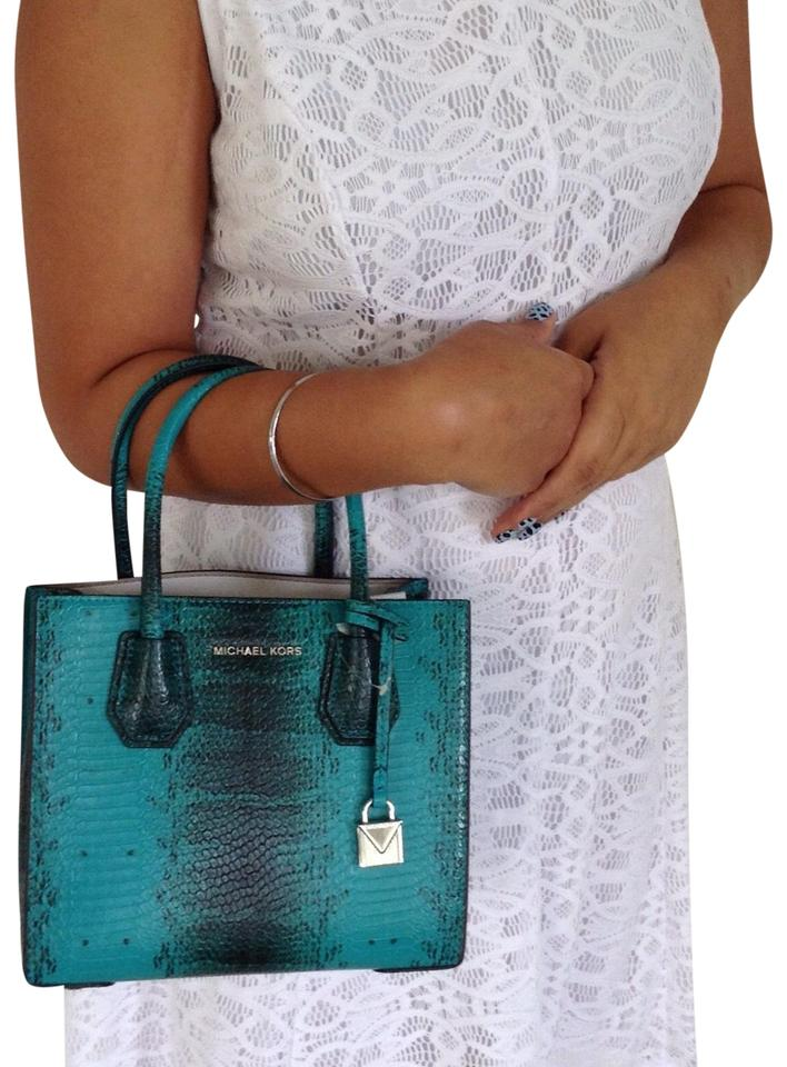 313e7f0ae2f8 Michael Kors Mercer Studio Medium Messenger Tile Blue Python Embossed  Leather Cross Body Bag
