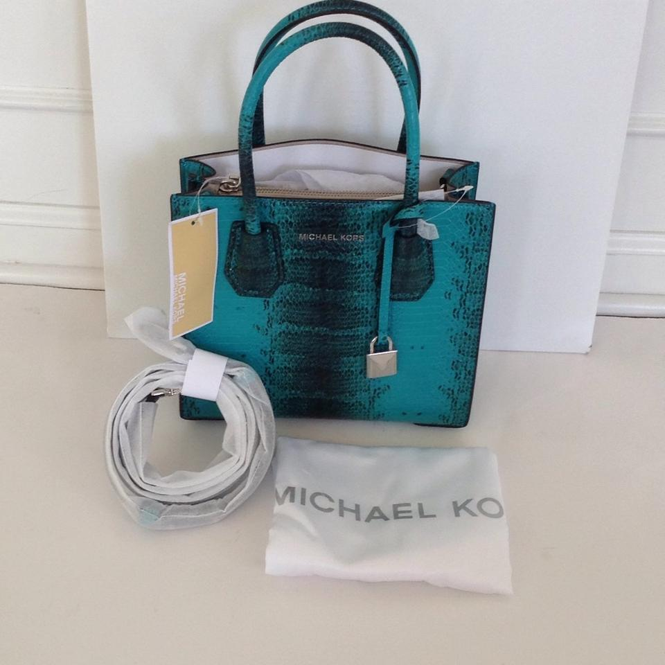 83958d28d2d1 Michael Kors Mercer Studio Medium Messenger Tile Blue Python ...