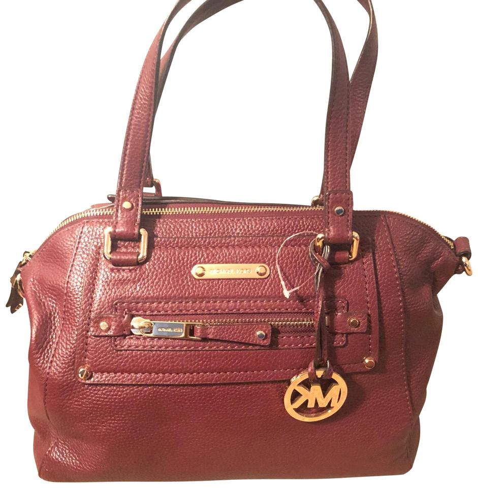 f73d3948c35867 MICHAEL Michael Kors Mk Handbag Wine (Burgundy) Leather Satchel ...