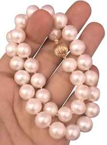 Estate FRESHWATER PEARLS LARGE 12-11.5 mm NECKLACE 14KT SOLID GOLD CLASP F6