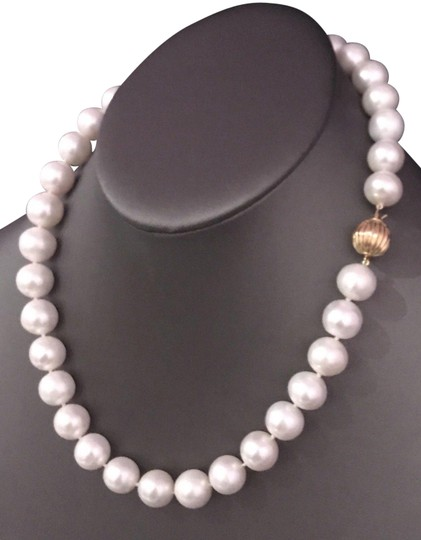Estate FRESHWATER PEARLS LARGE 12-11.5 mm NECKLACE 14KT SOLID GOLD CLASP F6 Image 2