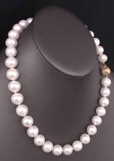 Estate FRESHWATER PEARLS LARGE 12-11.5 mm NECKLACE 14KT SOLID GOLD CLASP F6 Image 4