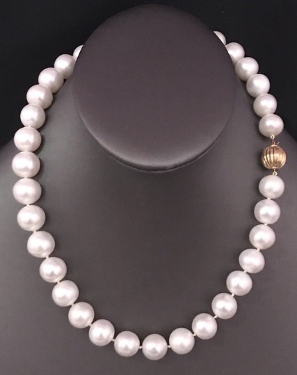 Estate FRESHWATER PEARLS LARGE 12-11.5 mm NECKLACE 14KT SOLID GOLD CLASP F6 Image 6