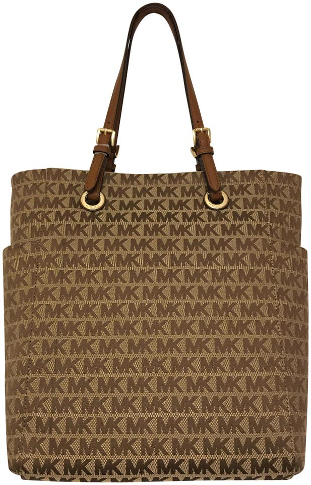 0a9361550925 Michael Kors Jet Set Signature Medium Ns Tote Beige/Camel/Luggage Brown  Jacquard and Leather Shoulder Bag