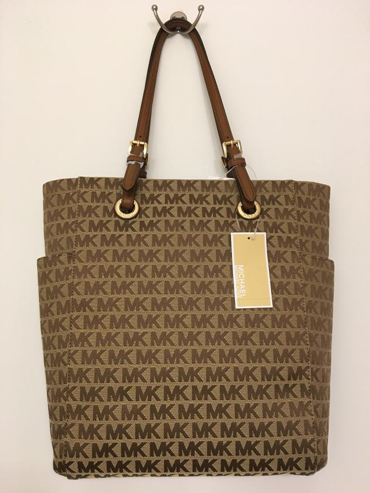 682b3fce6f Michael Kors Jet Set Signature Medium Ns Tote Beige Camel Luggage Brown  Jacquard and Leather Shoulder Bag - Tradesy