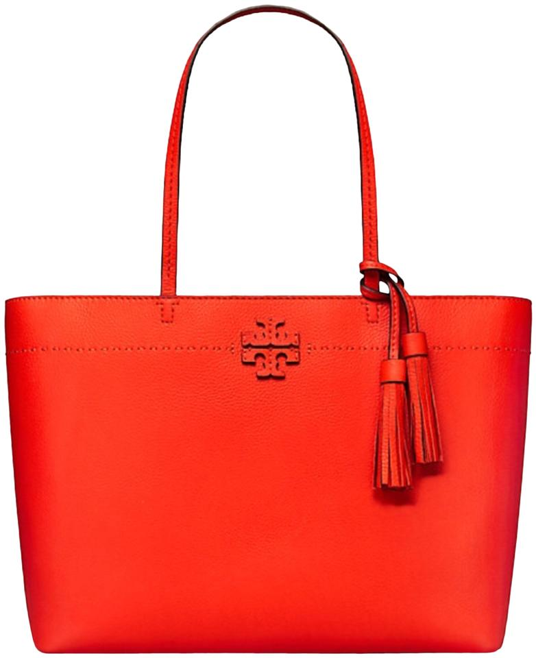 b86f96f3a38d7 Tory Burch Mcgraw Poppy Red Pebbled Leather Tote - Tradesy