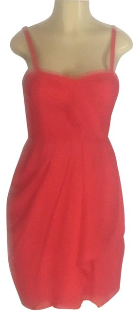 Item - Coral/Hot Pink Sheer Lined Mid-length Cocktail Dress Size 6 (S)