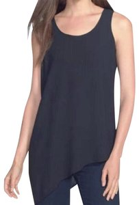 Eileen Fisher Perfect Drape Asymmetrical Hem Cool Stretch Fabric Versatile Dress Up Or Down Top Black