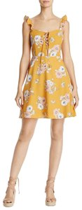 Sadie & Sage short dress mustard yellow Floral Print Lace Up Short Night Out on Tradesy