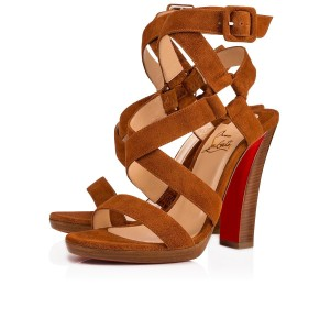 Christian Louboutin Stiletto Classic Corsini Strappy Ankle Strap Brown Pumps