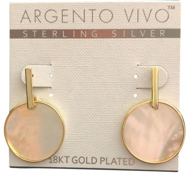 Item - Yellow G Gold/Mother Of Pearl Dingaling D Discs 18k Plated Earrings